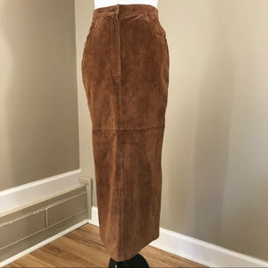 Vintage High Waist Brown Suede Leather Skirt 6P